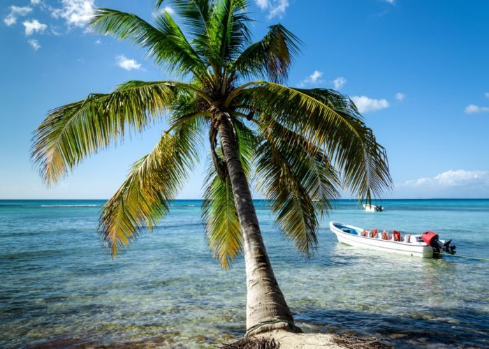 Caribbean beach with boat floating on the sea